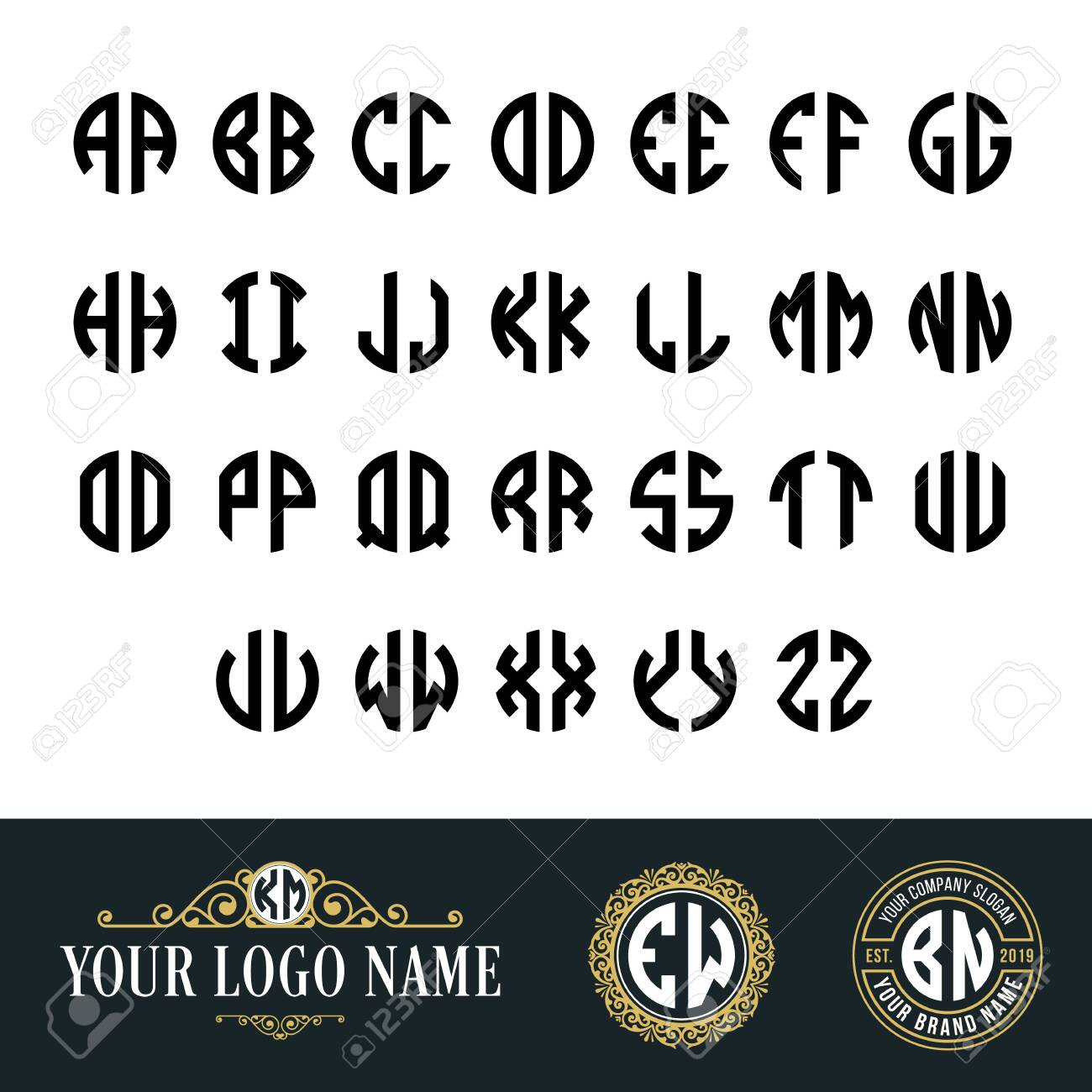 Monogram Circle Font With 2 Letters Suitable As An Initial Logo Royalty Free Cliparts Vectors And Stock Illustration Image 127338141