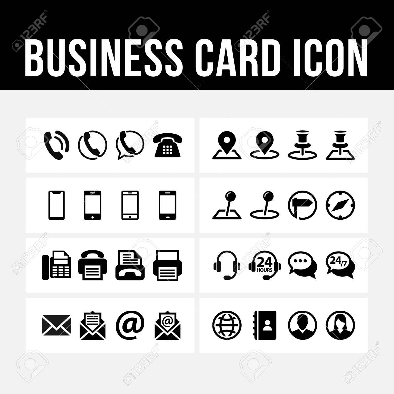 Business card icon contact symbol vector image - 129786667