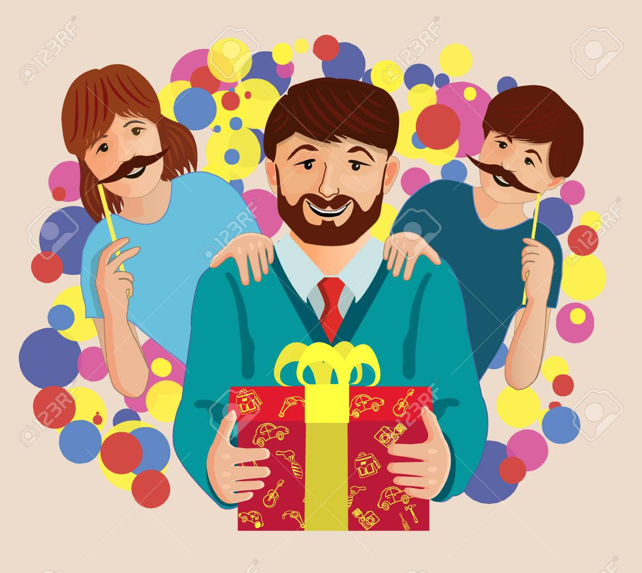Happy Birthday Father Bright Greeting Card Vector Illustration