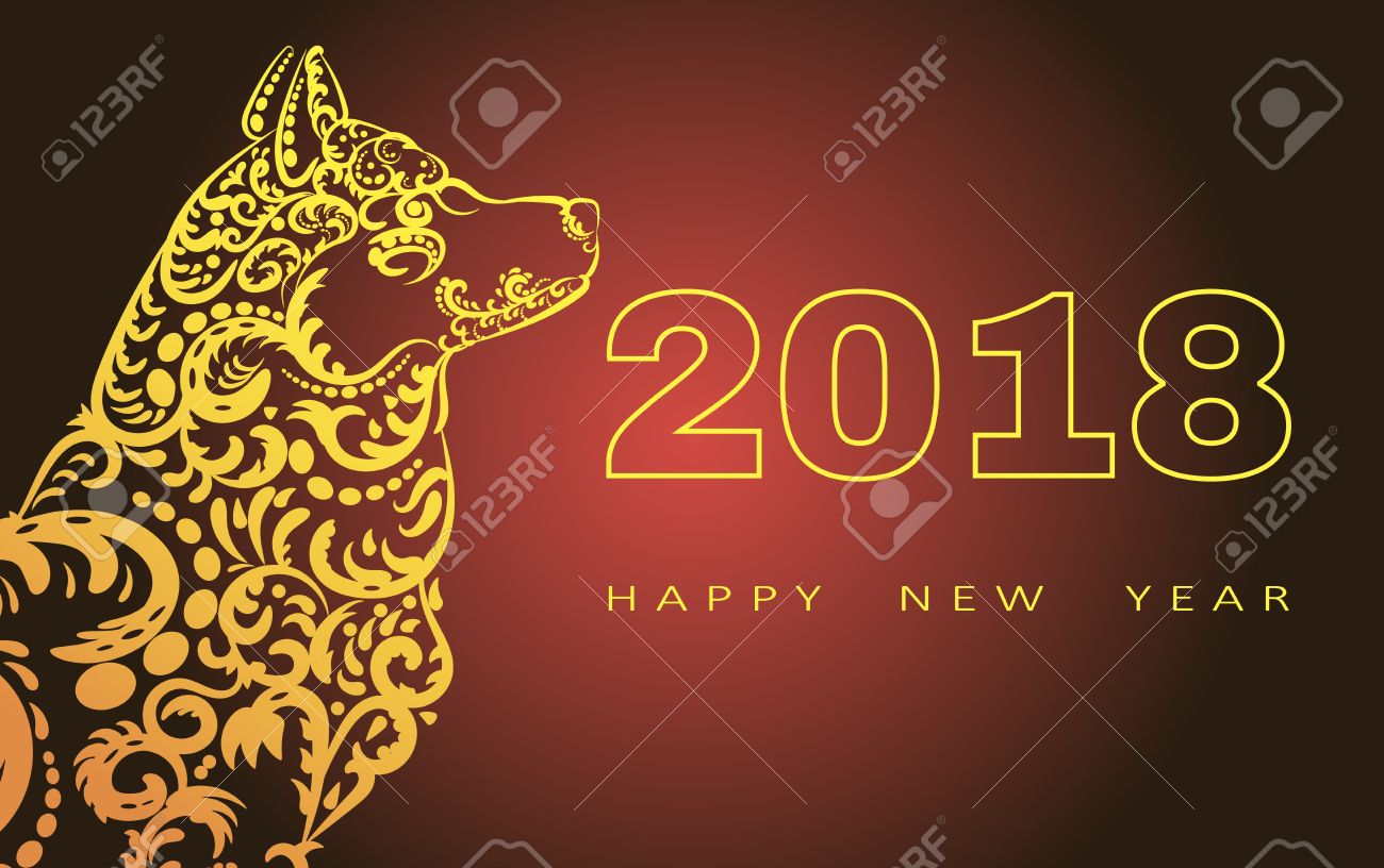 2018 Happy New Year Greeting Cardar Of The Dog Chinese New