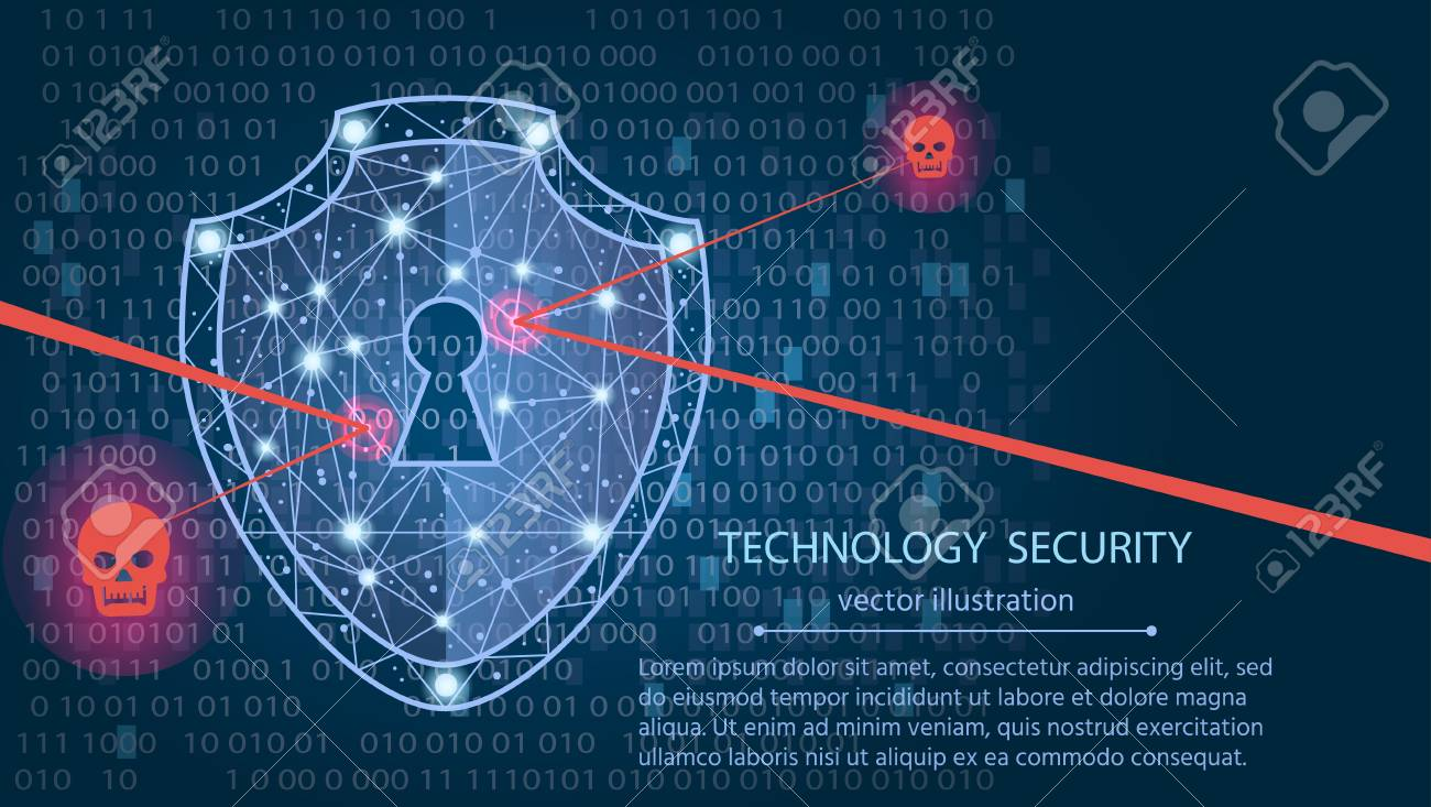 Cyber security concept: Shield on digital data background. Illustrates cyber data security or information privacy idea. Blue abstract hi speed internet technology.Protection concept.vector illustration - 91175109
