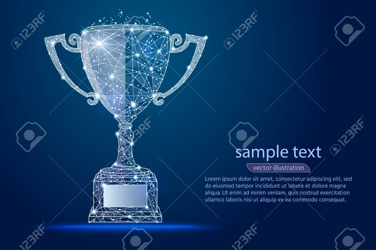 abstract design winner cup, logo isolated from low poly wireframe. Vector abstract polygonal image mash line and point. Digital graphics - 104508688