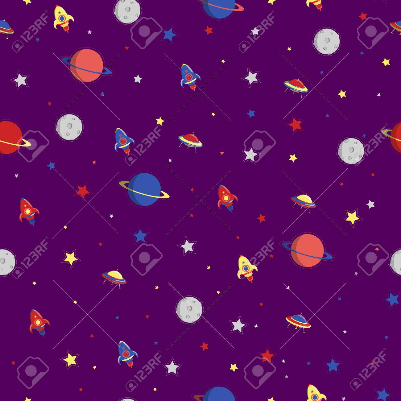 seamless space pattern planets rockets and stars cartoon