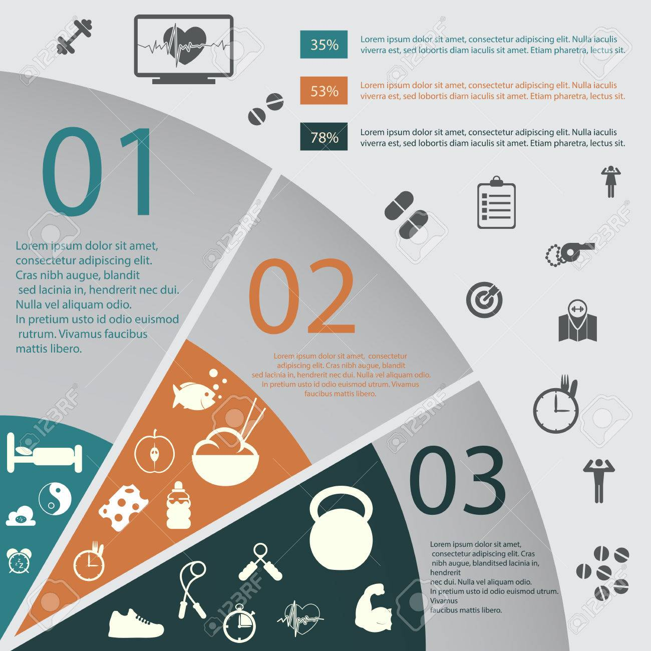 illustration of health lifestyle infographic in flat designed without shadow - 31168051