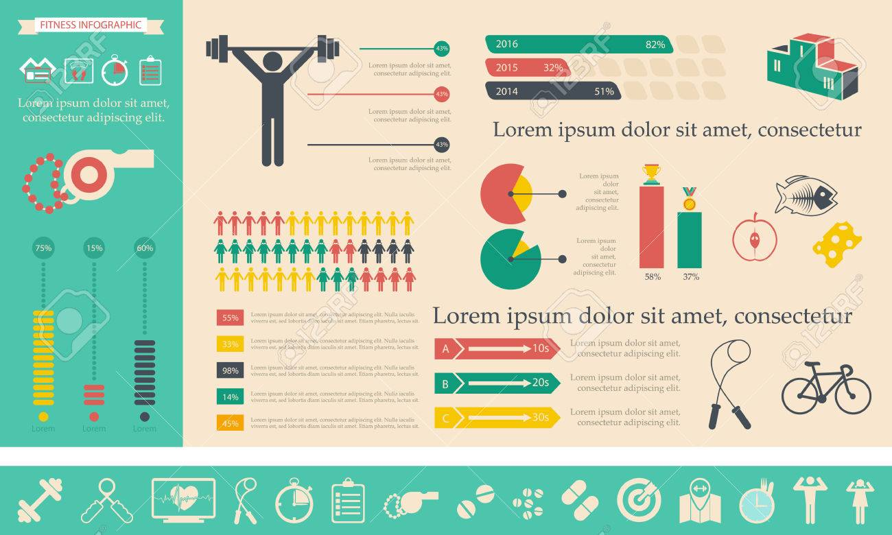 illustration of health lifestyle infographic in flat designed without shadow - 31168014