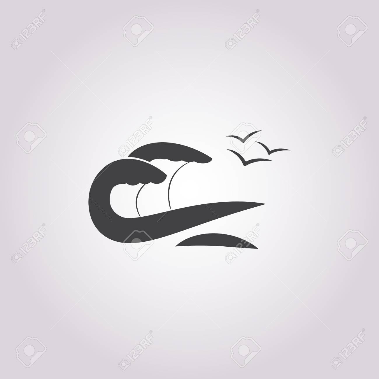 Vettoriale Icona Onda Del Mare Su Sfondo Bianco Per Il Web Image