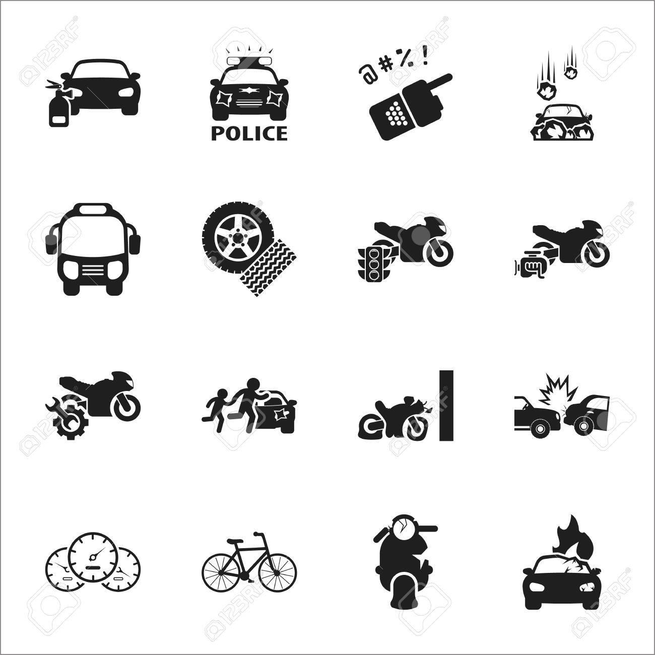 Auto, Unfall 16 Schwarz Einfache Symbole Für Web-Design Gesetzt ...