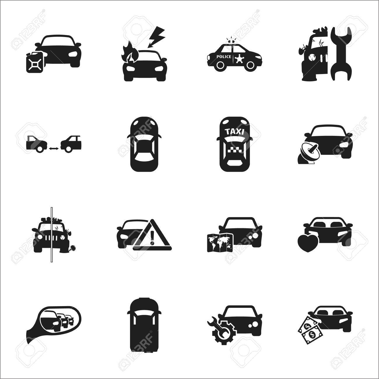 car, accident 16 black simple icons set for web design - 50451974