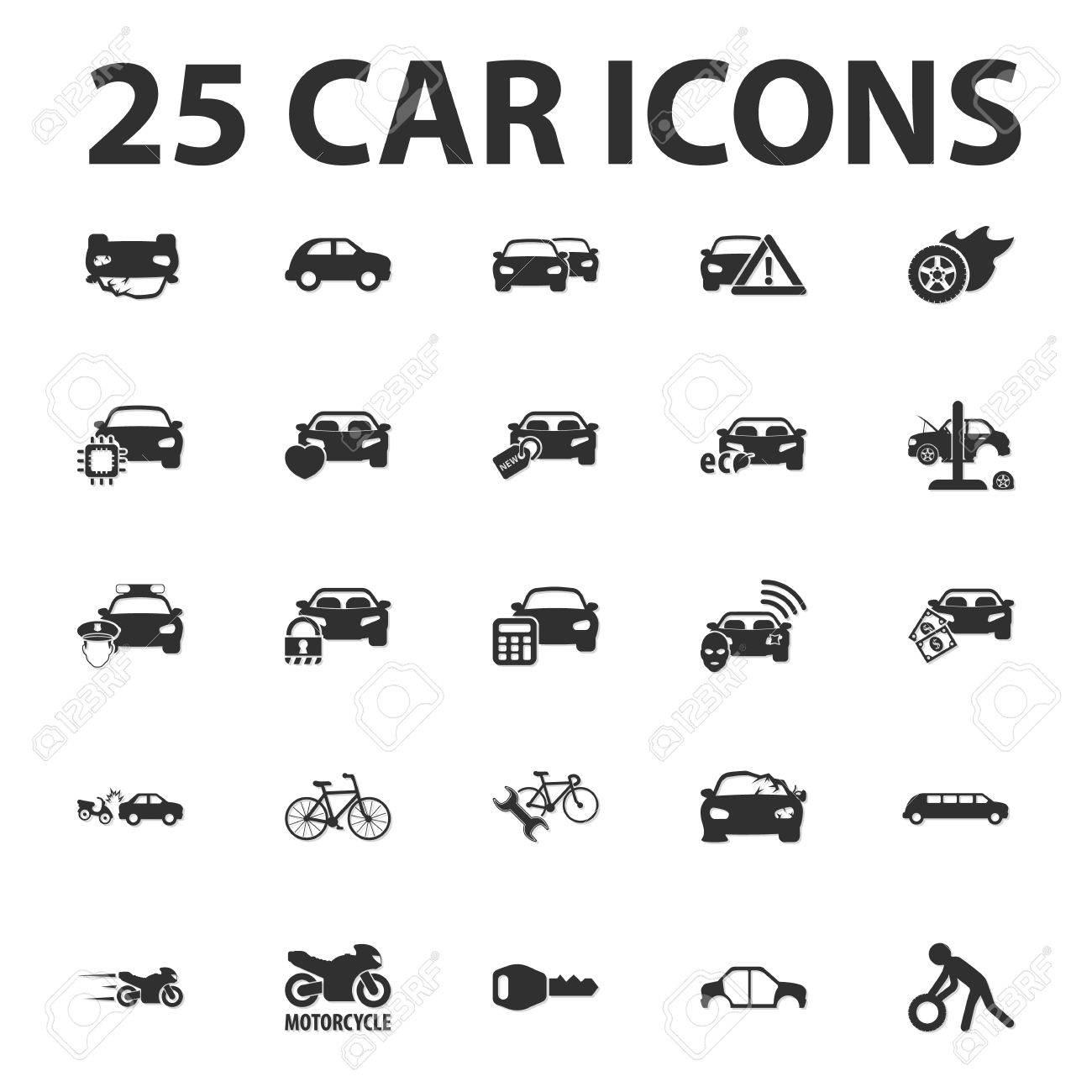 Car, repair 25 black simple icons set for web design - 51028089