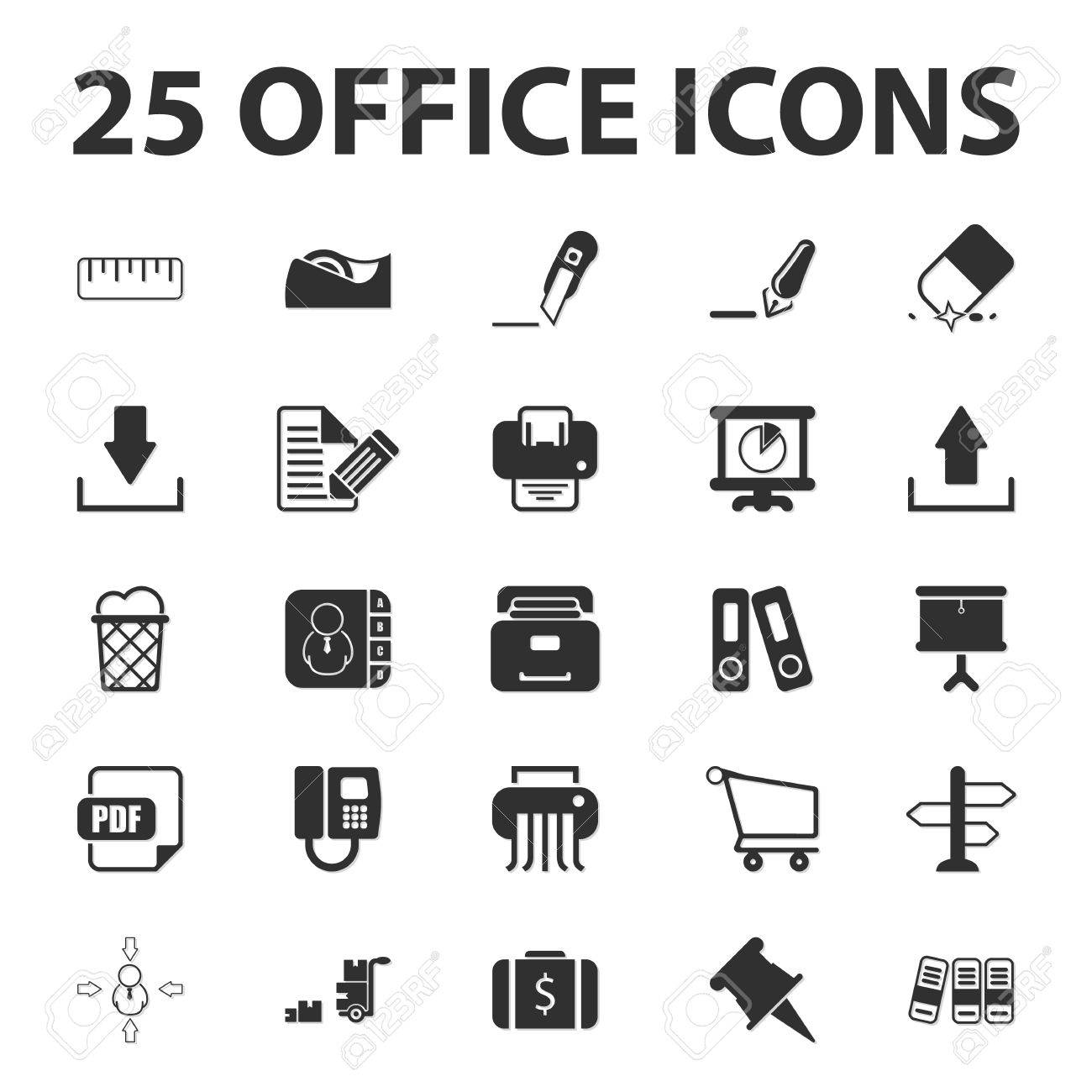 Business, Finanzen, Büro 25 Schwarz Einfache Symbole Für Web-Set ...