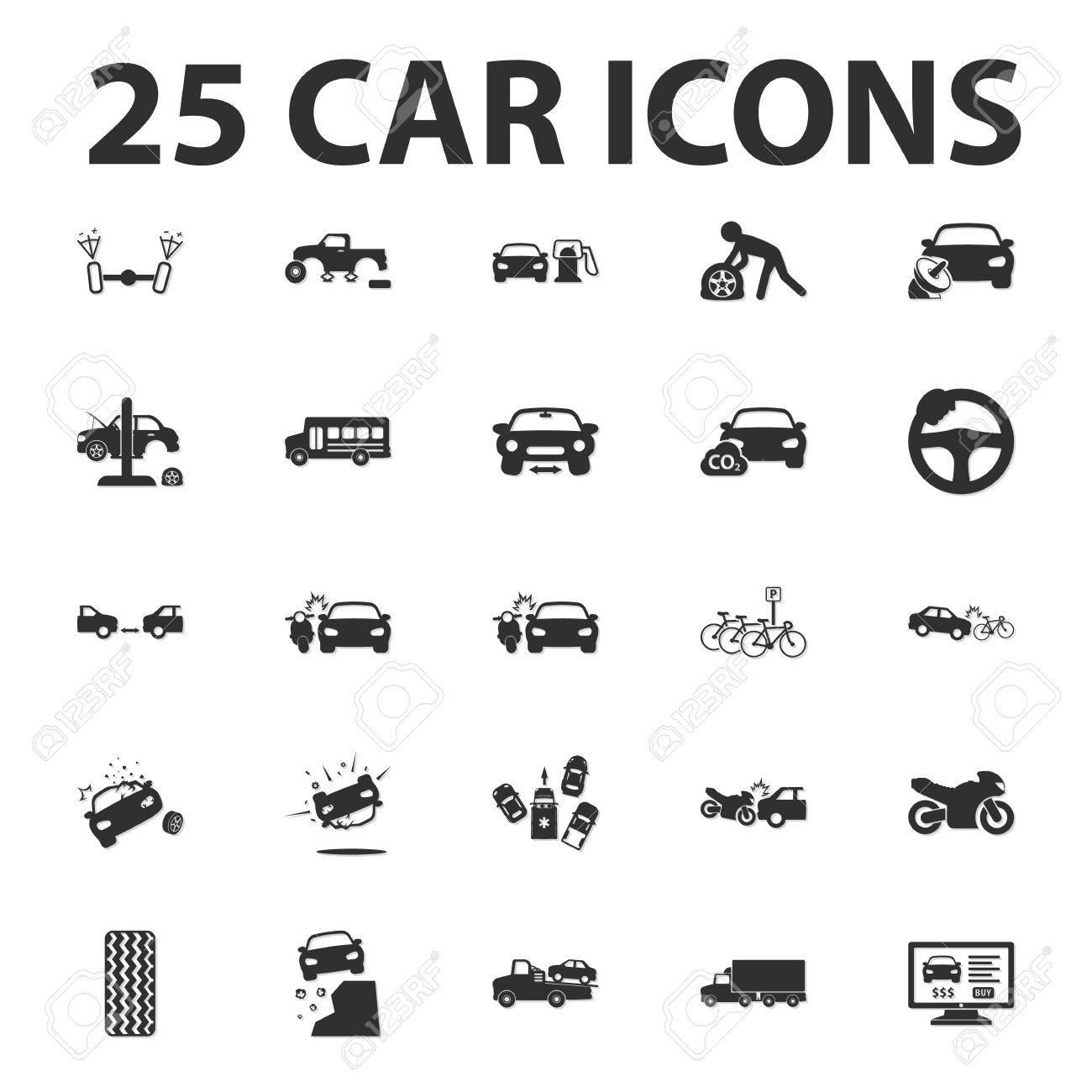 Auto, Autowerk 25 Schwarz Einfache Symbole Für Web-Design Lizenzfrei ...