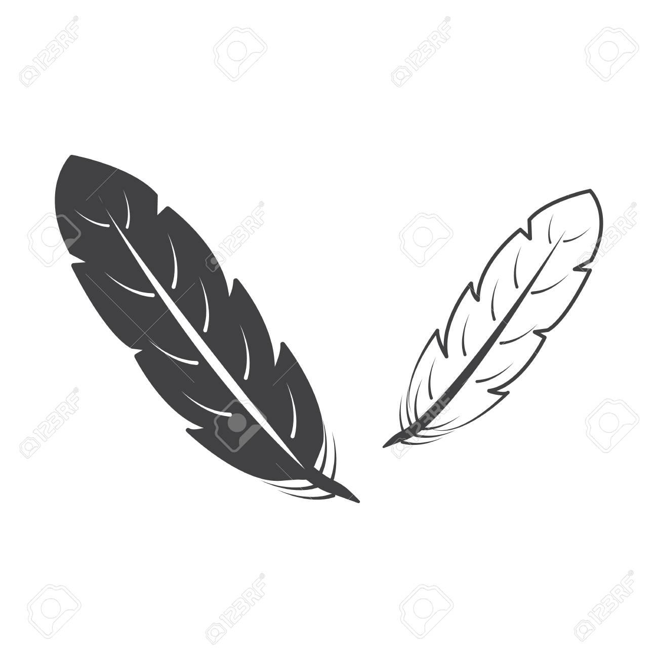 Vettoriale Piume Nero Semplice Icona Su Sfondo Bianco Per Il Web