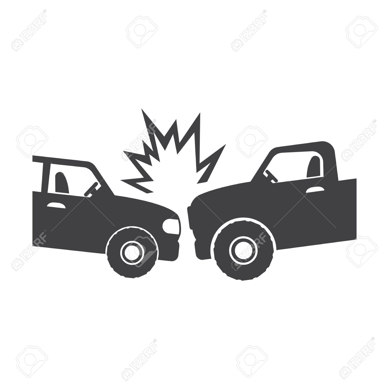 Autounfall Schwarz Einfaches Symbol Auf Weißem Hintergrund Für Web ...