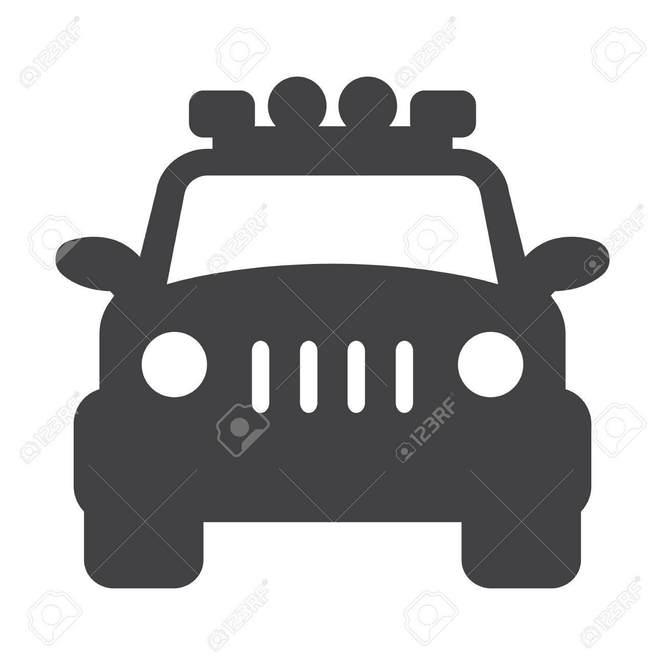 Jeep Black Simple Icon On White Background For Web Design Royalty