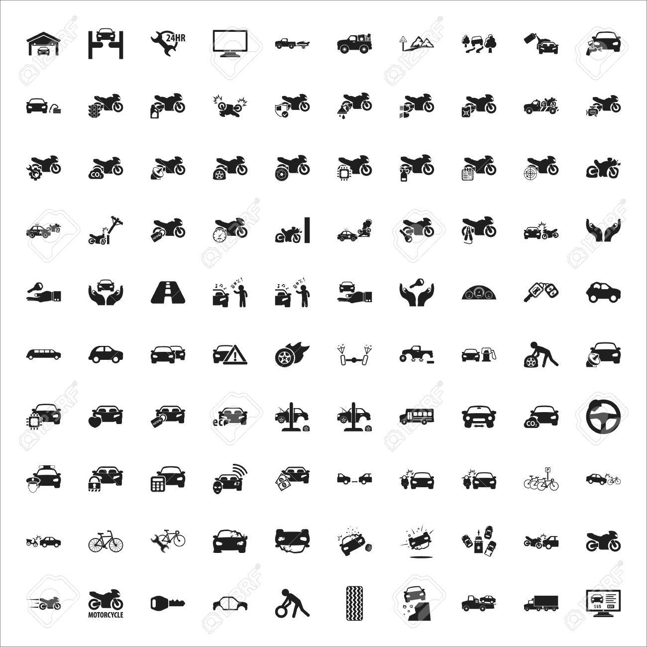 Auto, Reparaturen, Eingestellt Mechaniker Schwarz Einfache Symbole ...