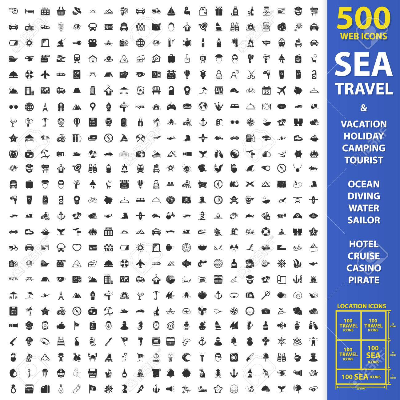 Sea, travel, vacation set 500 black simple icons. Holiday, camping, tourist icon design for web and mobile device. - 52678405