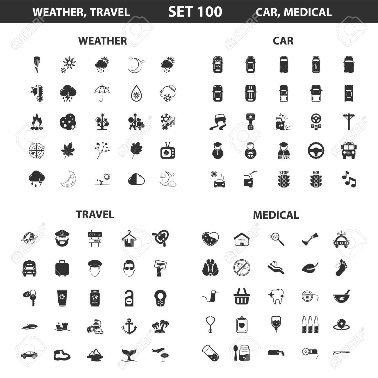 Wetter, Auto Set 100 Schwarz Einfache Symbole. Reisen, Medizinische ...