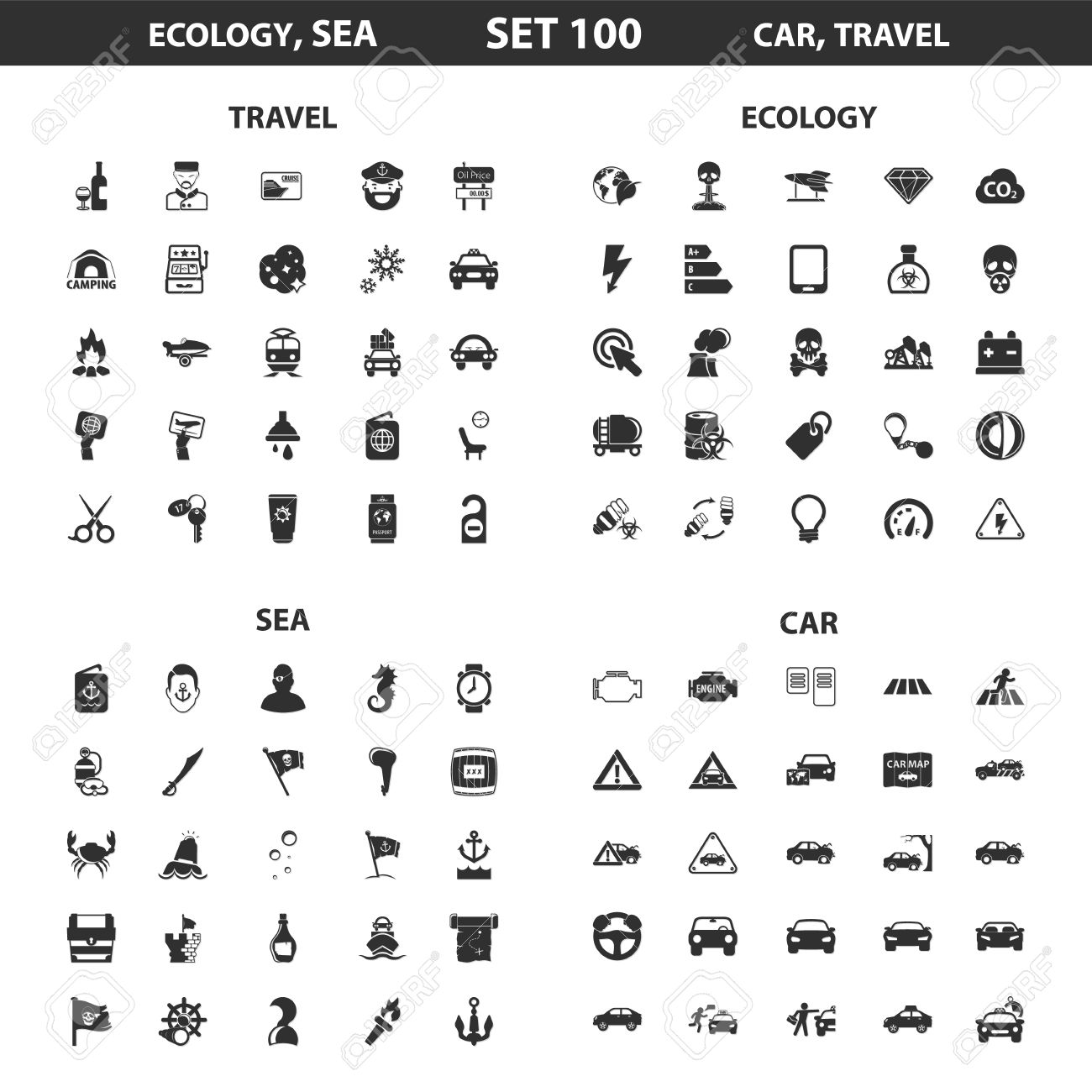 Kologie, Meer Set 100 Schwarz Einfache Symbole. Ozean, Auto-Symbol ...