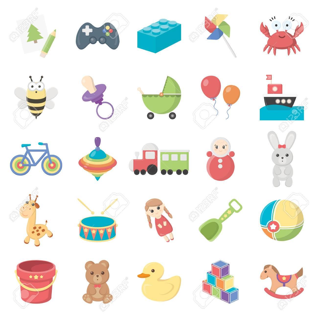 Toys 25 cartoon icons set for web design - 54750738