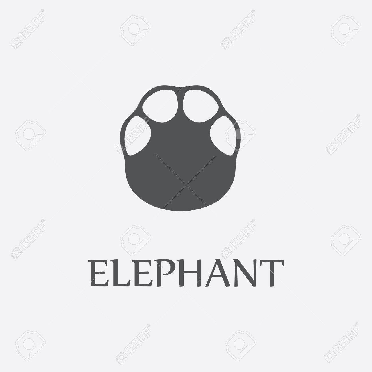 Elephant print black simple icon for web and other design. - 55134874