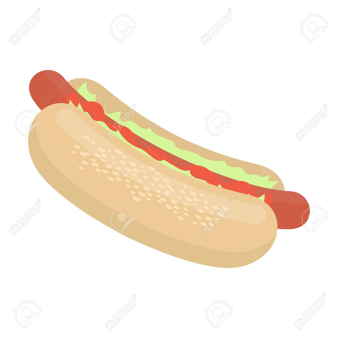 Hot Dog Vector Illustration Icon In Cartoon Design Royalty Free