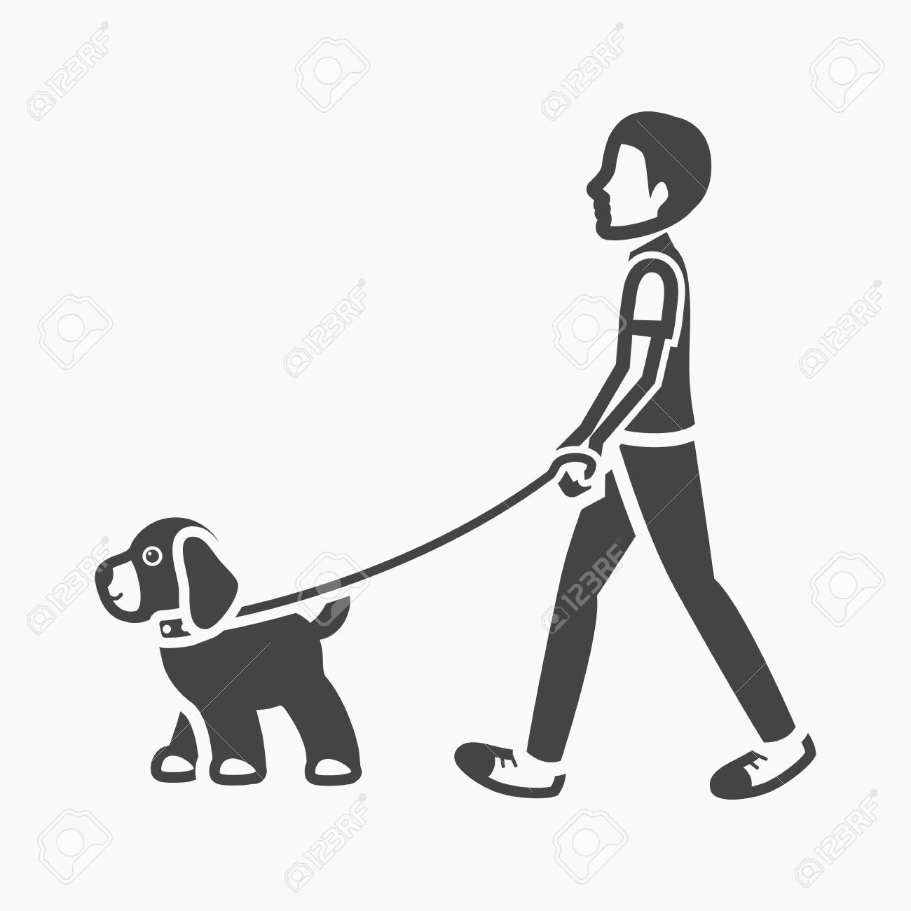 dog walk vector illustration icon in black design royalty free cliparts vectors and stock illustration image 61943555 dog walk vector illustration icon in black design