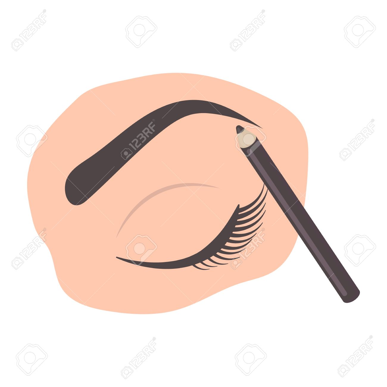 Painted Eyebrows Icon In Cartoon Style Isolated On White Background