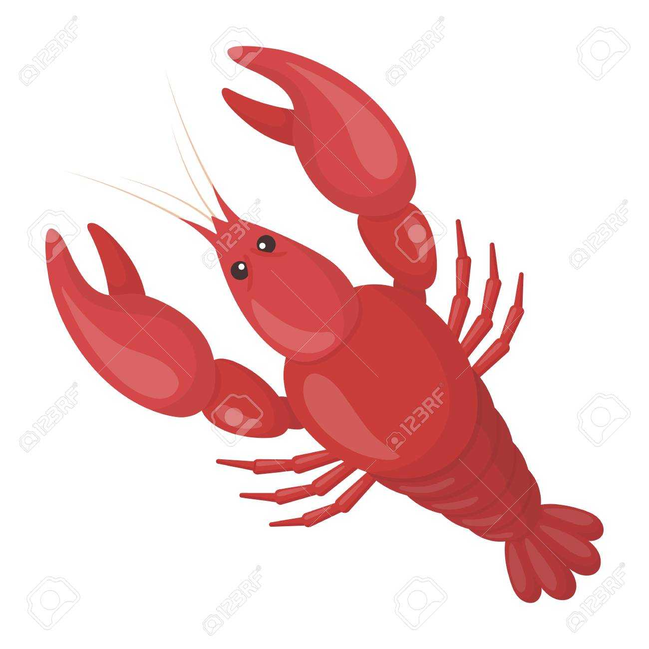Boiled Lobster Icon In Cartoon Style Isolated On White Background