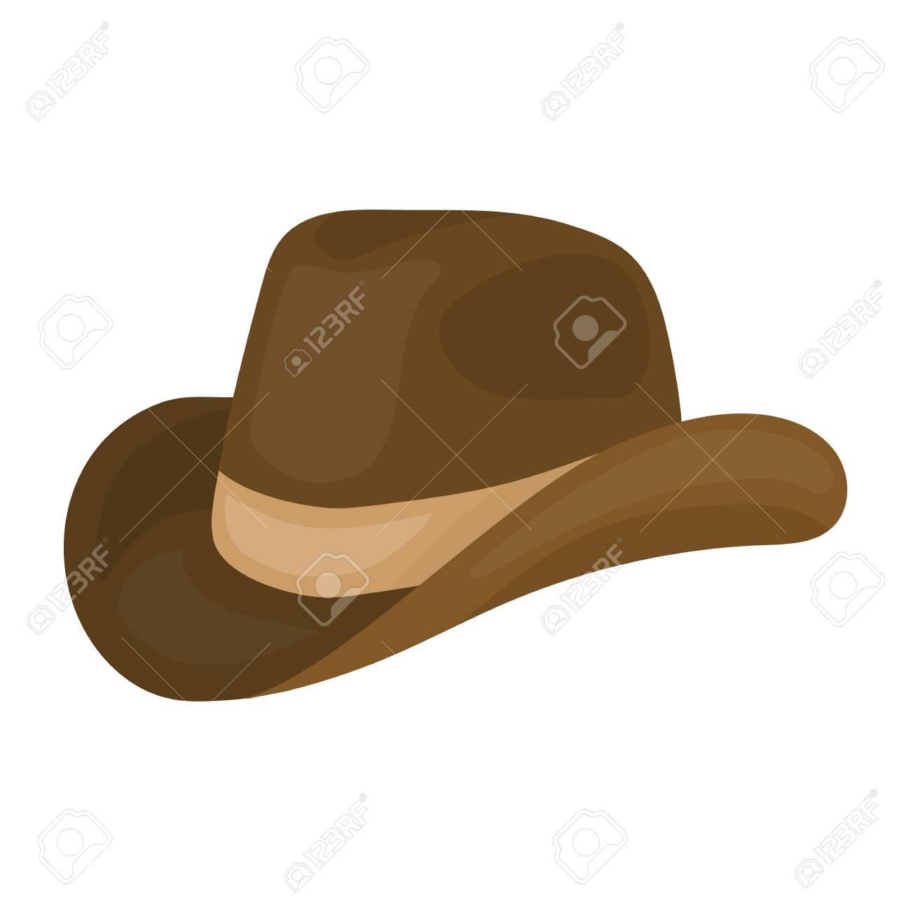 Foto de archivo - Icono de sombrero vaquero en estilo de dibujos animados  aislado en el fondo blanco. ilustración vectorial símbolo del día del  patriota. 3cfc37cd68b