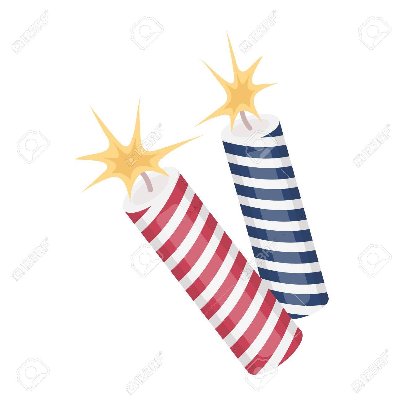 Icono De Los Fuegos Artificiales Patriotica En Estilo De Dibujos
