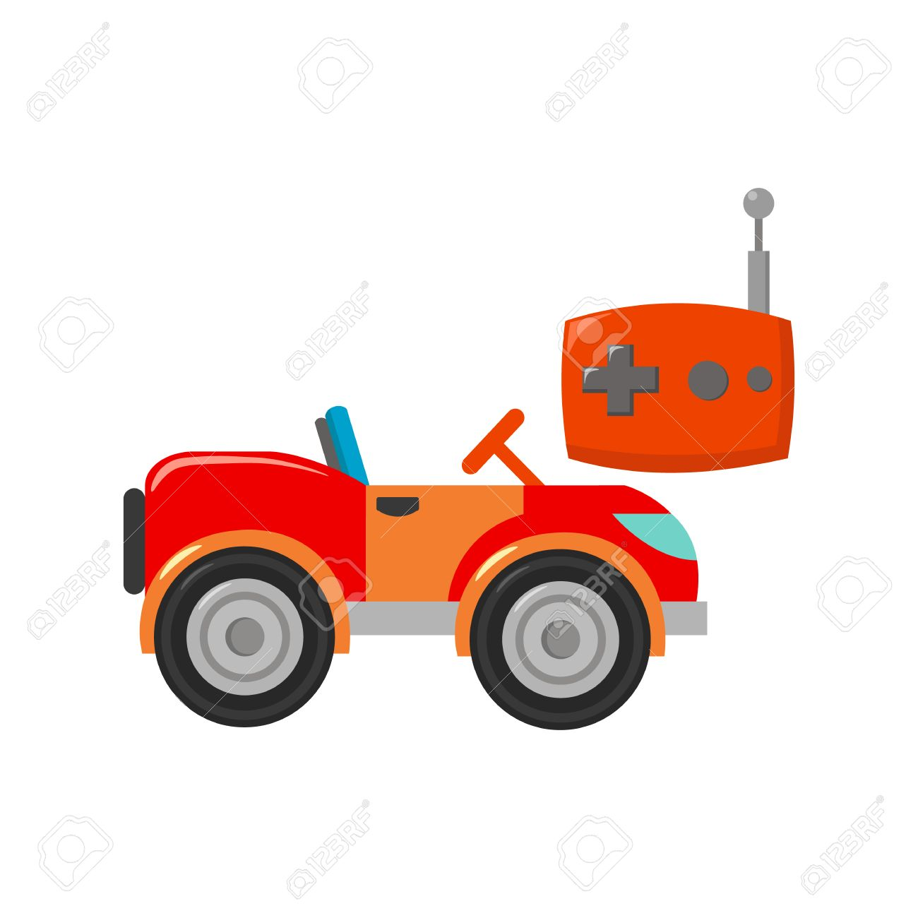 RC car icon in cartoon style isolated on white background. Play garden symbol vector illustration. - 63195405