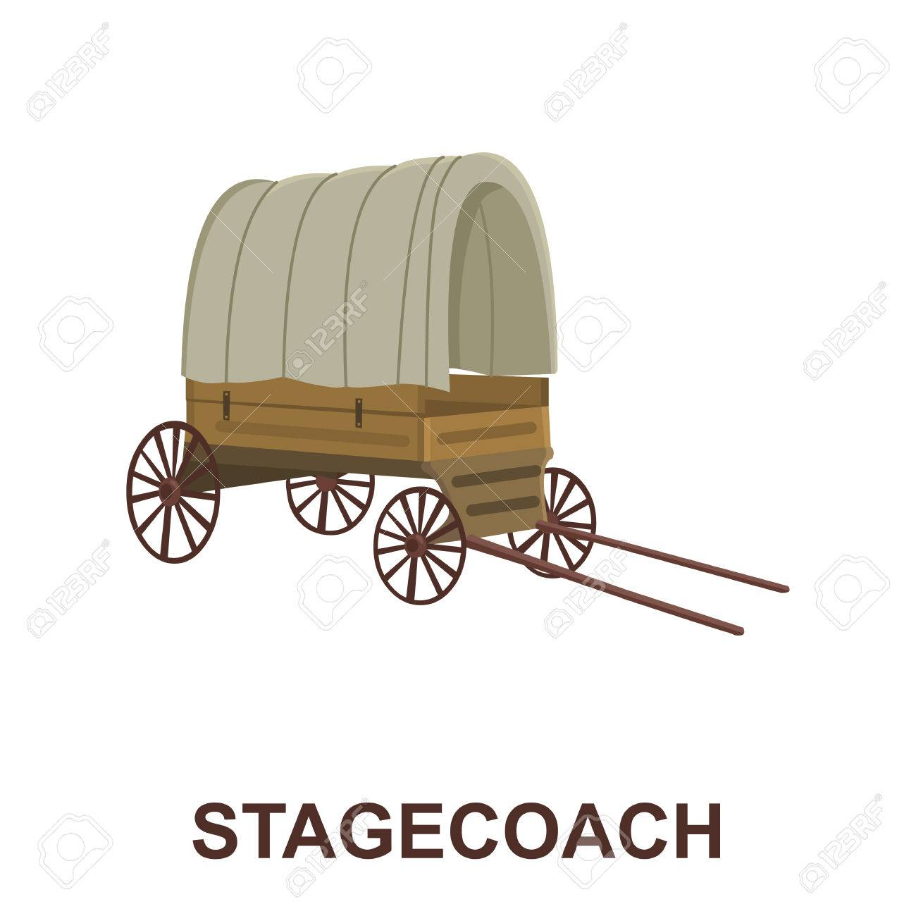 Cowboy Wagon Icon Cartoon. Singe Western Icon From The Wild West ...