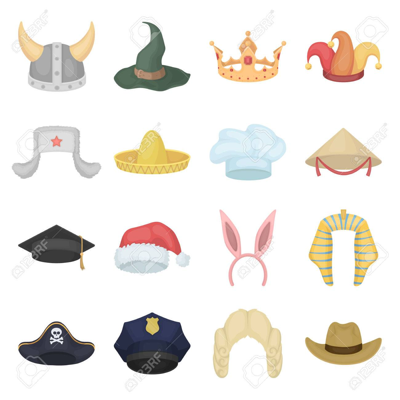 hats set icons in cartoon style. big collection of hats vector