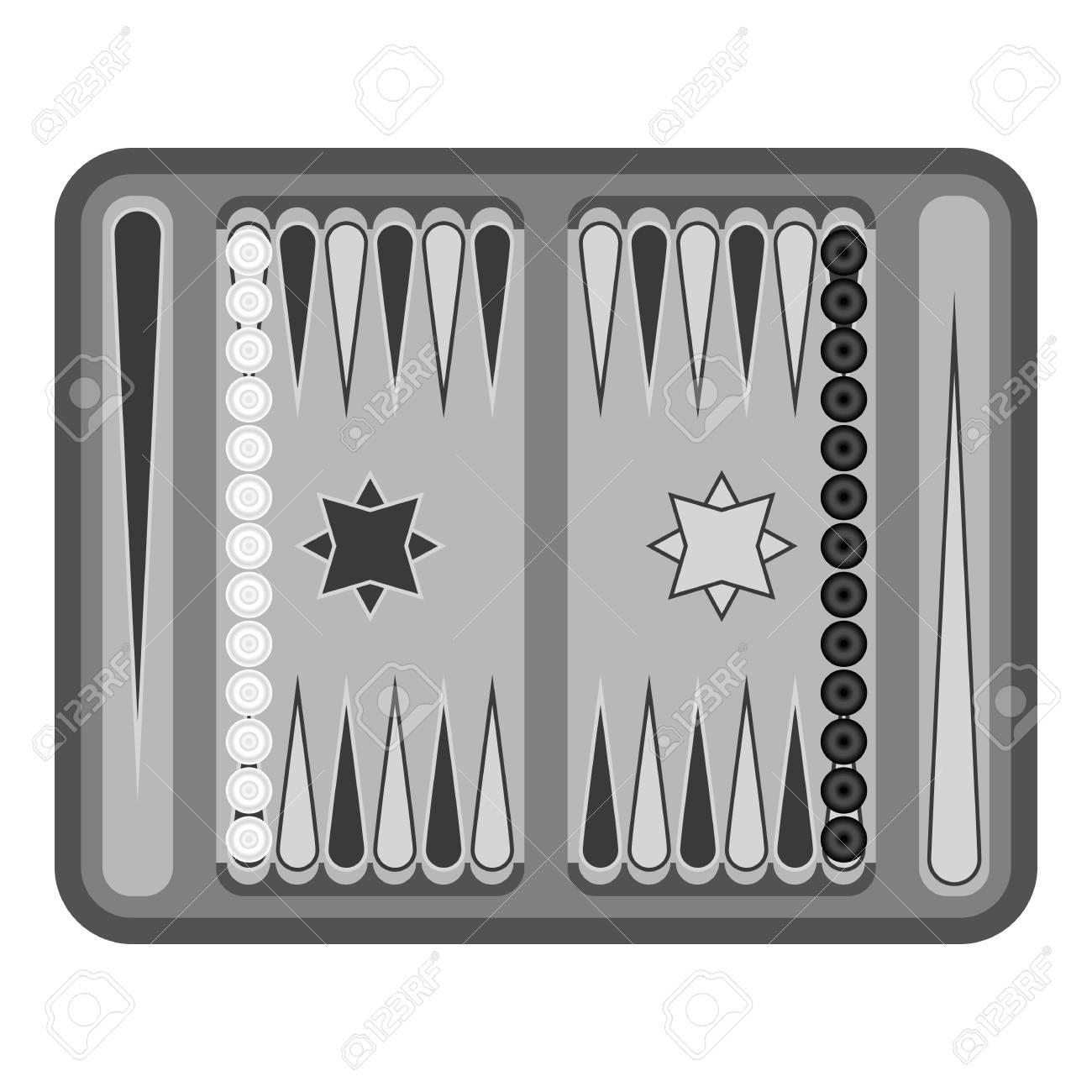 Icono De Backgammon En Estilo Blanco Y Negro Sobre Fondo Blanco Los