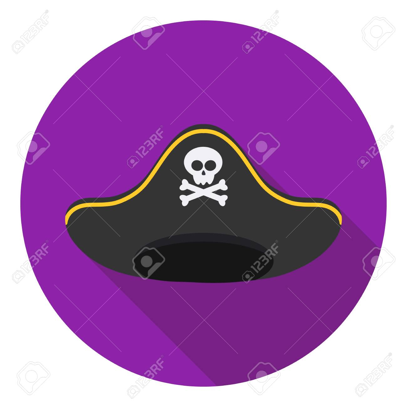 1dbb1cb4 Pirate hat icon in flat style isolated on white background. Hats symbol  vector illustration.