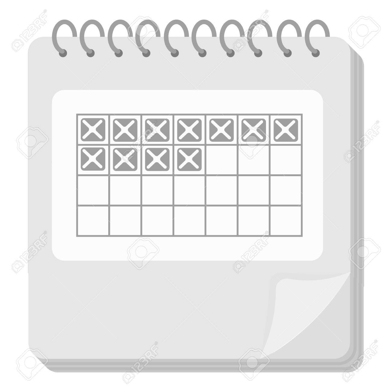932e45f33 Foto de archivo - Icono de calendario en el estilo blanco y negro sobre  fondo blanco. Embarazo ilustración vectorial símbolo.