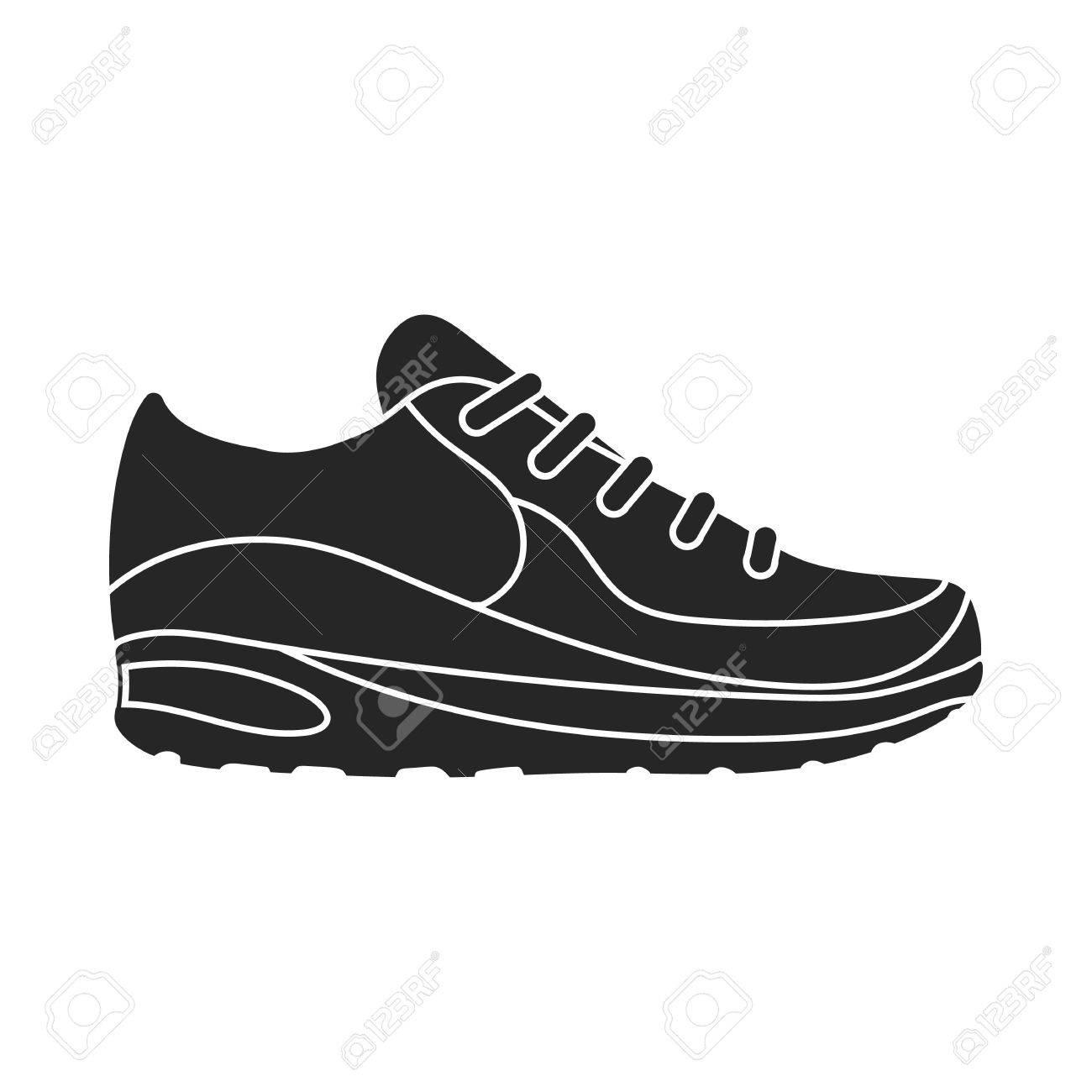Sneakers pictogram in zwarte stijl geïsoleerd op een witte achtergrond. Schoenen symbool vectorillustratie.
