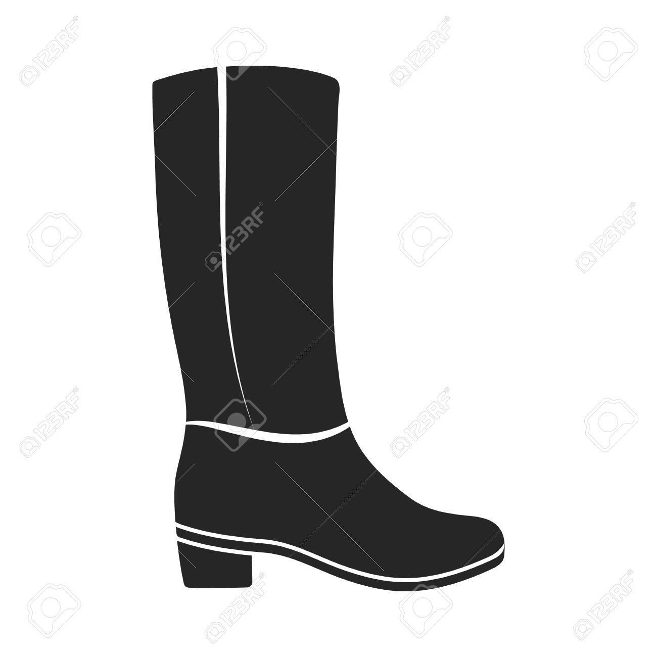 Rodilla botas altas icono de estilo negro sobre fondo blanco. Zapatos ilustración vectorial símbolo.
