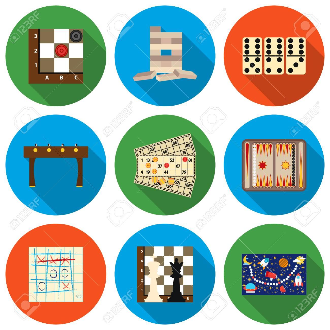e98e8daa2d3 Foto de archivo - Los juegos de mesa iconos conjunto en estilo plano.  Grandes juegos de mesa colección de símbolos del vector stock