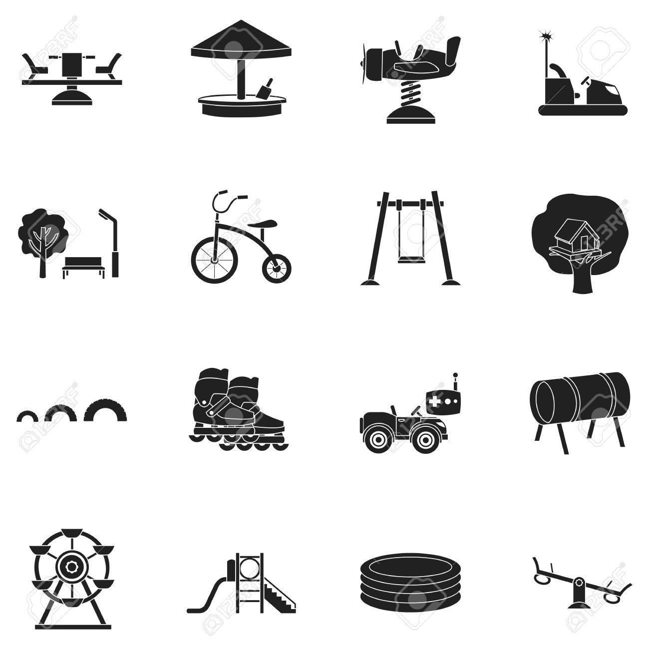 Juega iconos juego de jardín de estilo negro. Gran colección de juegos de  jardín símbolo vector stock