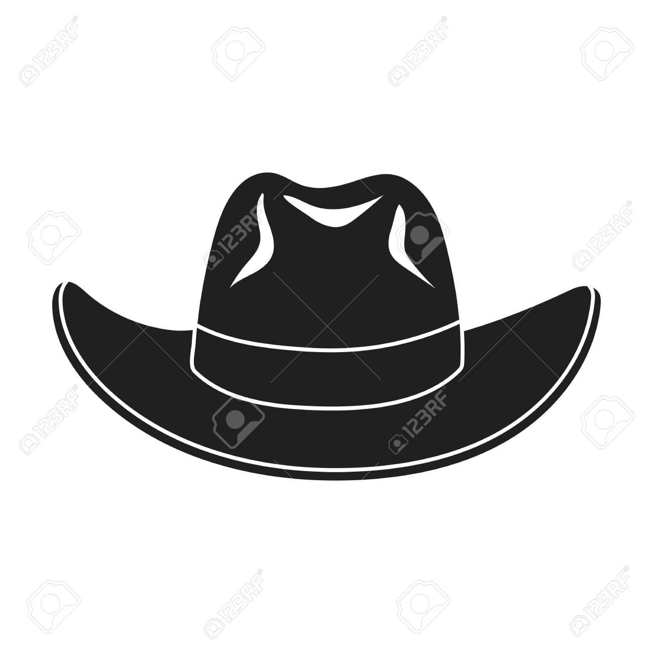 Foto de archivo - Icono de sombrero de vaquero en estilo negro aislado  sobre fondo blanco. Ilustración de vector de símbolo de sombreros. 09bd8828c50