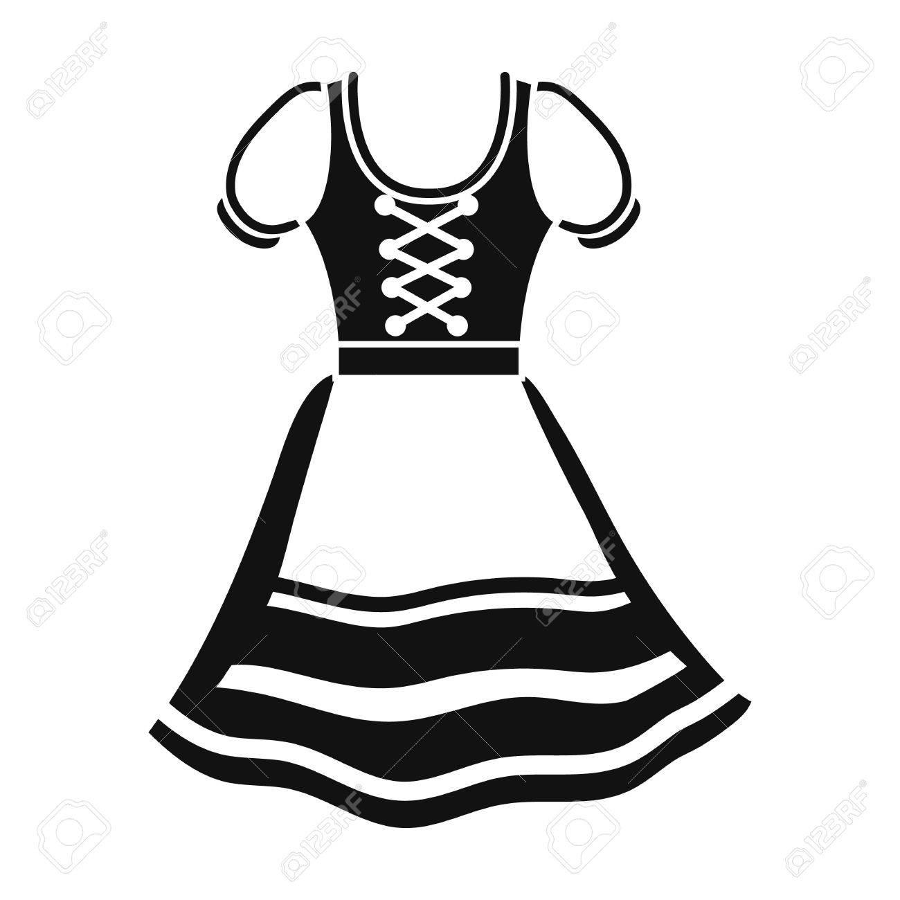 Dirndl icon in black style isolated on white background. Oktoberfest symbol vector illustration. - 64659079