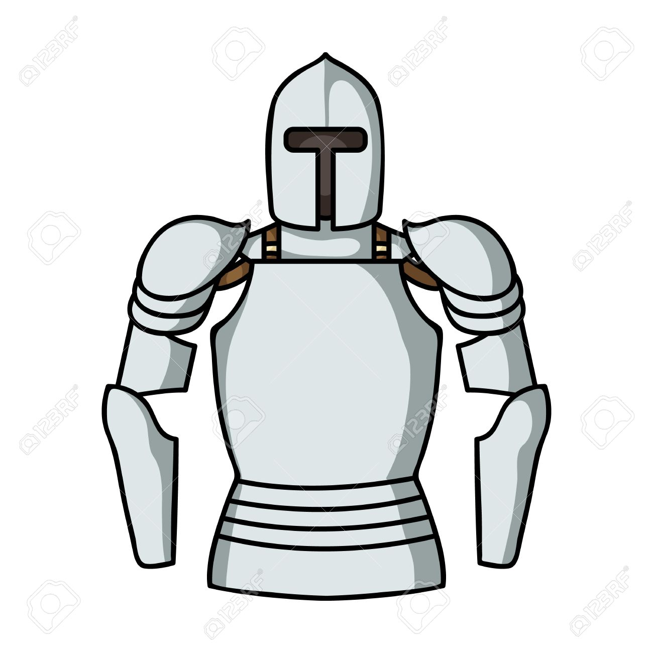 Plate armor icon in cartoon style isolated on white background