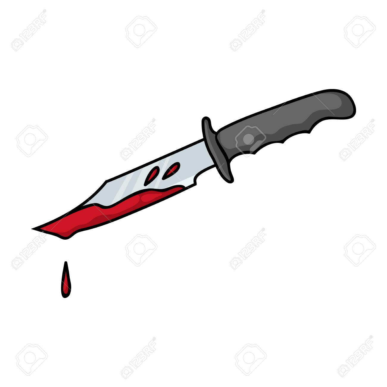 Bloody Knife Icon In Cartoon Style Isolated On White Background
