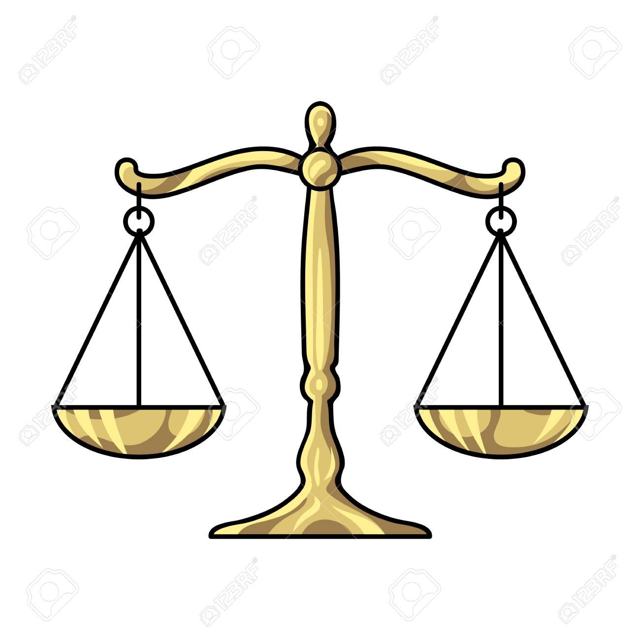 Scales Of Justice Icon In Cartoon Style Isolated On White Background. Crime  Symbol Vector Illustration
