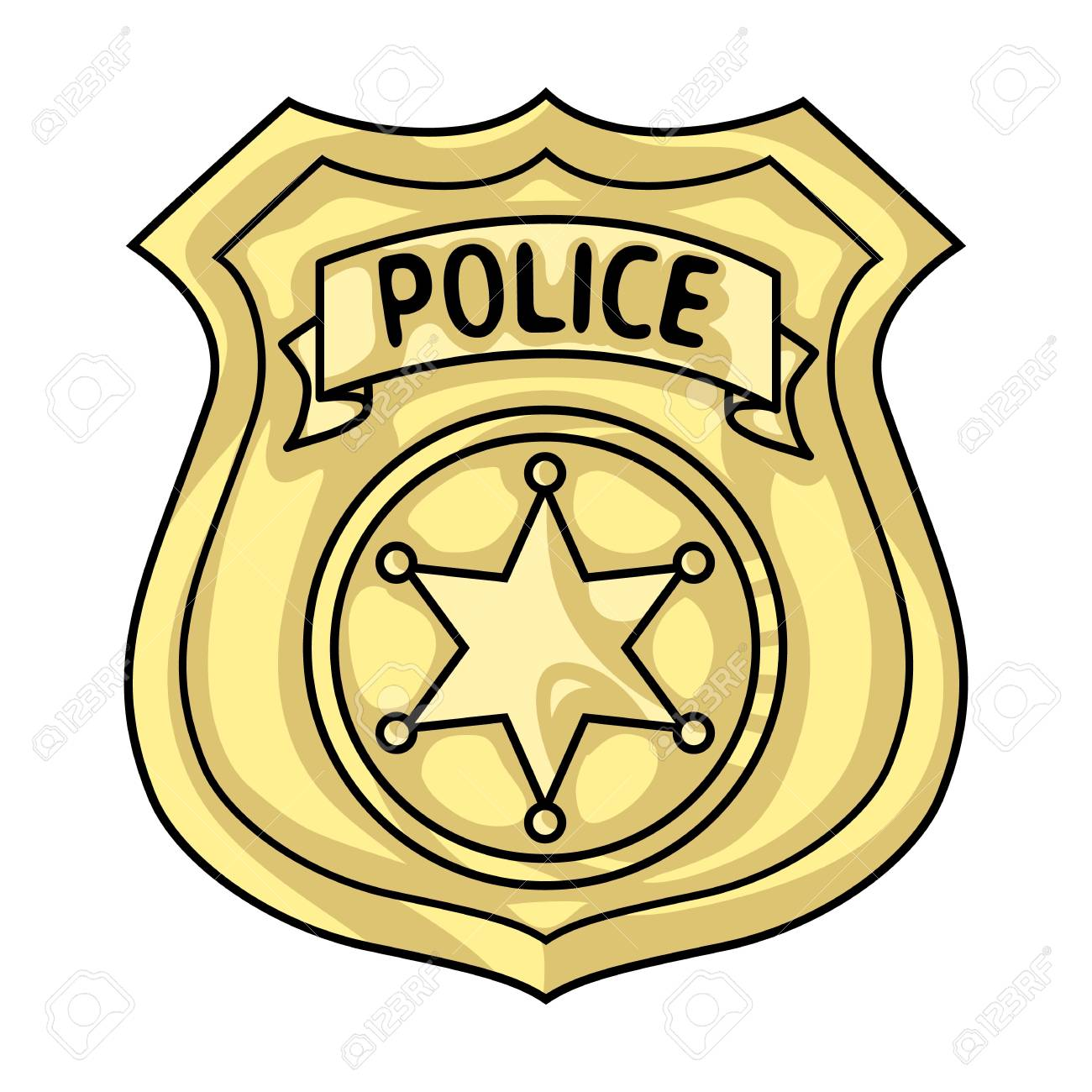 police officer badge icon in cartoon style isolated on white rh 123rf com police badge vector free police badge vector illustration