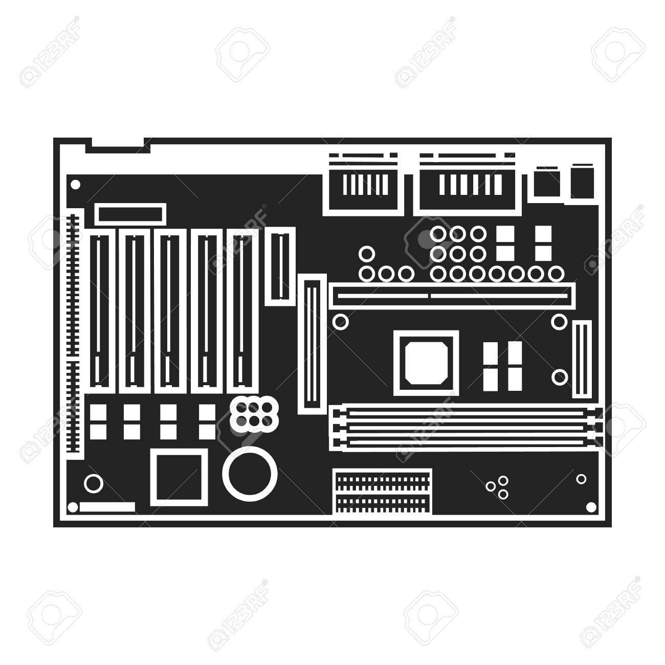 Motherboard Icon In Black Style Isolated On White Background ...