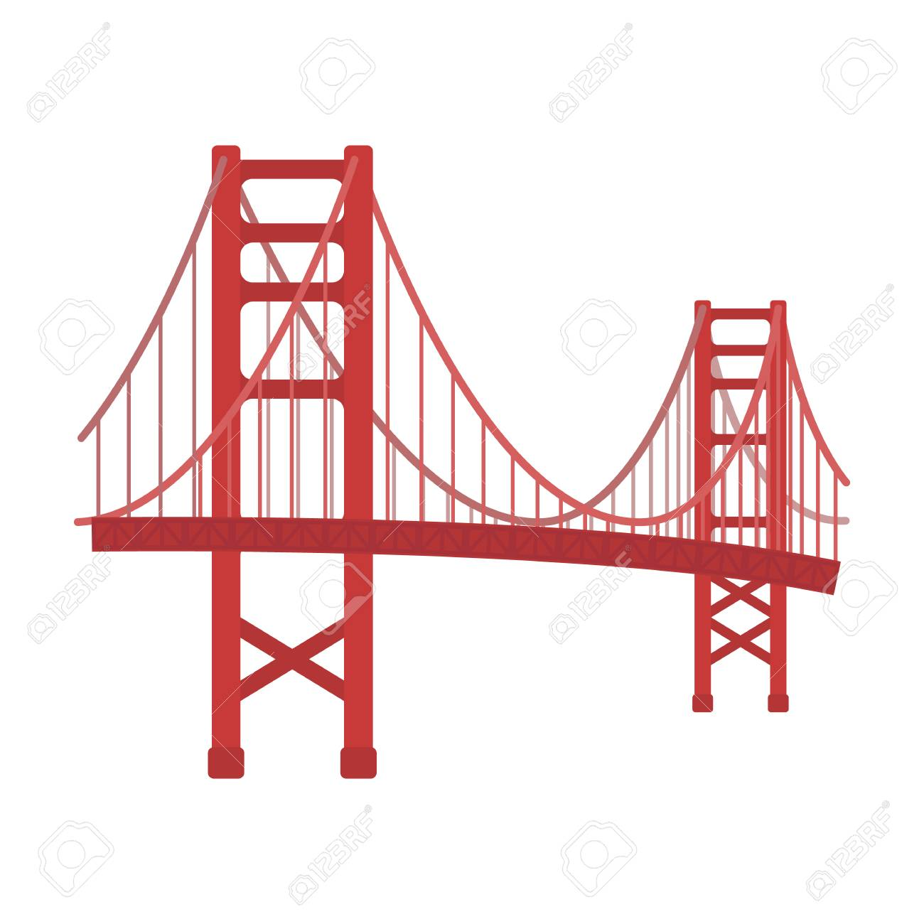 golden gate bridge icon in cartoon style isolated on white rh 123rf com Golden Gate Bridge SVG Golden Gate Bridge Illustration
