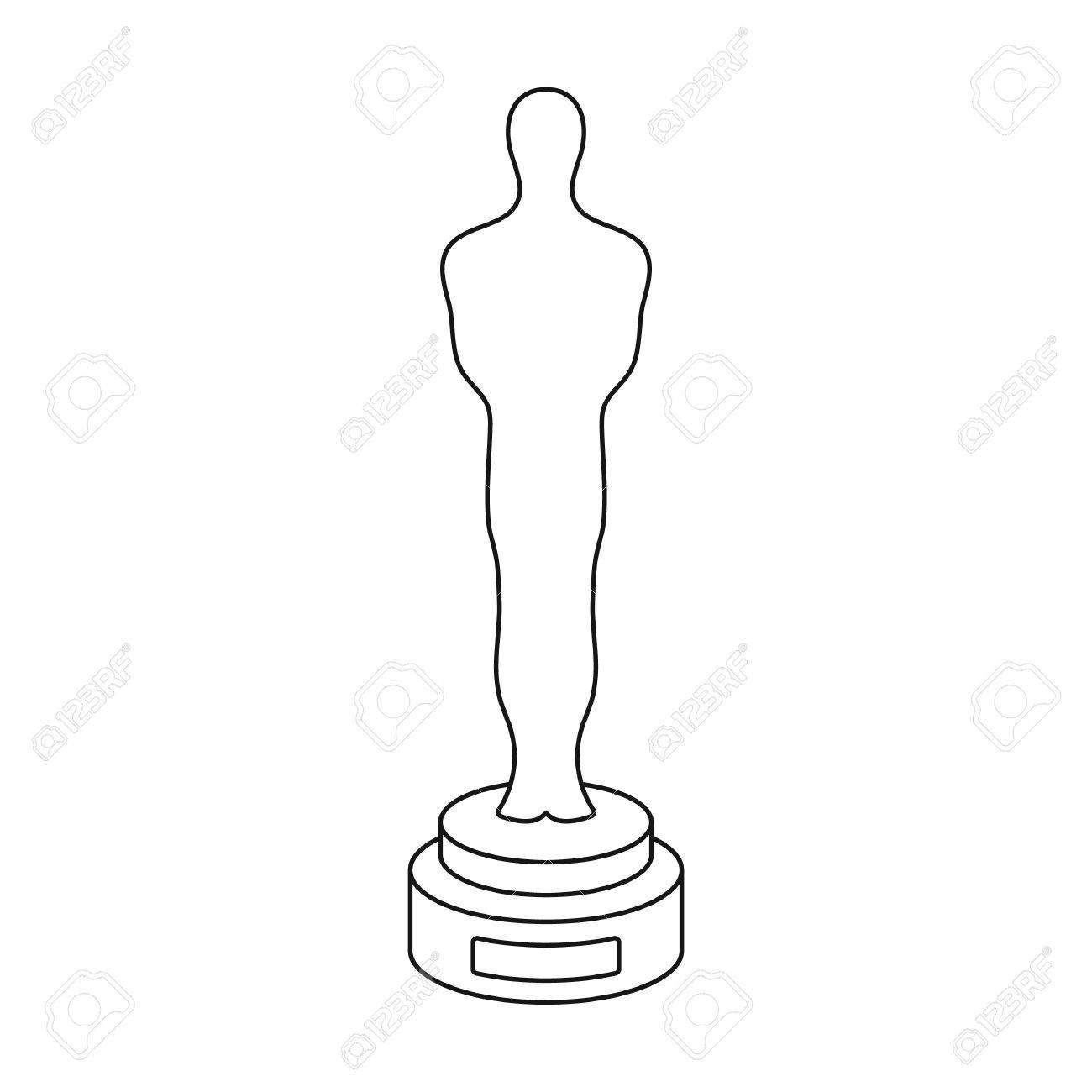 academy award icon in outline style isolated on white background