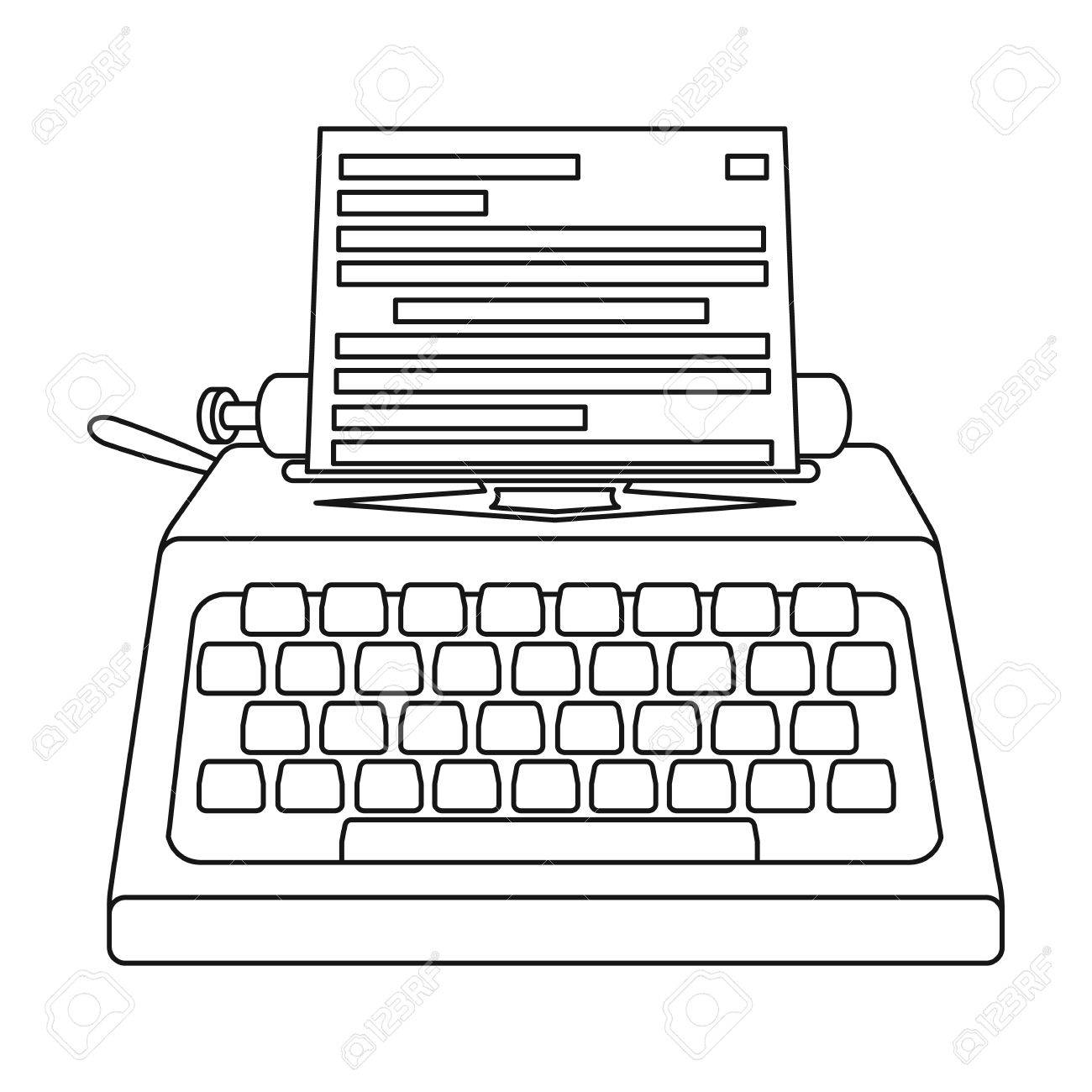 Typewriter Icon In Outline Style Isolated On White Background